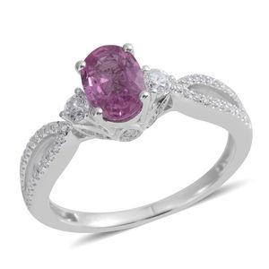 ILIANA 18K WG Madagascar Pink Sapphire, Diamond Split Ring (Size 7.0) TDiaWt 0.27 cts, TGW 1.19 cts.