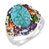 Arizona Sleeping Beauty Turquoise, Multi Gemstone 14K YG and Platinum Over Sterling Silver Carved Ring (Size 10.0) TGW 8.00 cts.