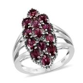 Orissa Rhodolite Garnet Platinum Over Sterling Silver Elongated Split Ring (Size 7.0) TGW 3.650 cts.