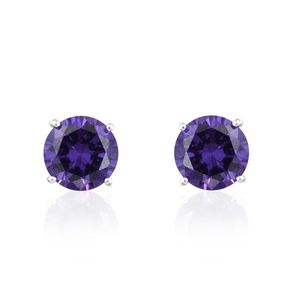 Simulated Purple Diamond Sterling Silver Round Stud Earrings TGW 6.88 cts.