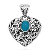 Bali Legacy Collection Arizona Sleeping Beauty Turquoise Sterling Silver Openwork Heart Pendant without Chain TGW 1.550 Cts.