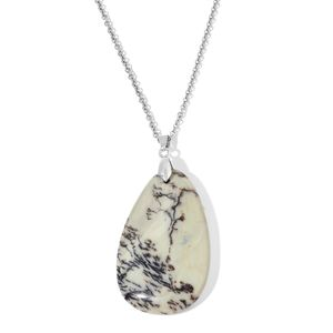 Dendritic Agate Stainless Steel Pendant With Chain (24 in) TGW 125.00 cts.