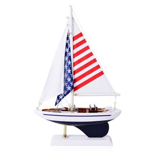 Handcrafted Blue Ranger Sailboat with Stars Stripes Sail (7.5 in)