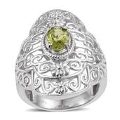 KARIS Collection - Hebei Peridot Platinum Bond Brass Openwork Ring (Size 7.0) TGW 1.150 cts.