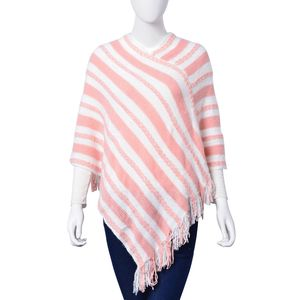 Pinkand White Stripe Print 100% Acrylic Cozy V-Shape Poncho with Fringes (Free Size)