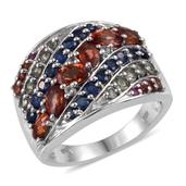 Multi Sapphire, White Topaz Platinum Over Sterling Silver Ring (Size 9.0) TGW 3.55 cts.