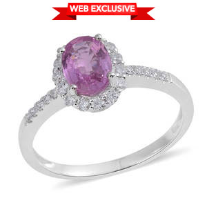 14K WG Madagascar Pink Sapphire, Diamond Halo Ring (Size 7.0) TDiaWt 0.26 cts, TGW 1.16 cts.