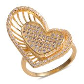 Simulated Diamond Goldtone Heart Ring (Size 6.0) TGW 5.85 cts.