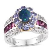 Australian Boulder Opal, Multi Gemstone 14K YG and Platinum Over Sterling Silver Bridge Ring (Size 7.0) TGW 4.96 cts.