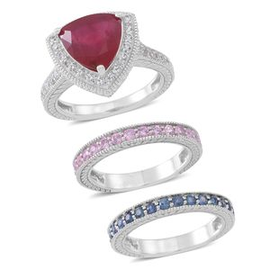 Set of 3 Niassa Ruby, Kanchanaburi Blue and Pink Sapphire, White Zircon Sterling Silver Stackable Rings (Size 7.0) TGW 7.08 cts.