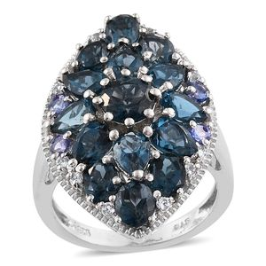 London Blue Topaz, Tanzanite, White Topaz Platinum Over Sterling Silver Ring (Size 8.0) TGW 8.07 cts.
