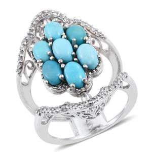 Arizona Sleeping Beauty Turquoise, Tanzanite, White Zircon 14K YG and Platinum Over Sterling Silver Open Double Band Reversible Ring (Size 8.0) TGW 3.60 cts.