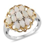 Australian White Opal 14K YG and Platinum Over Sterling Silver Ring (Size 5.0) TGW 2.23 cts.