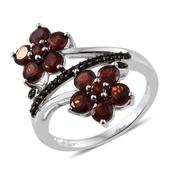 Mozambique Garnet, Thai Black Spinel Platinum Over Sterling Silver Floral Bypass Ring (Size 6.0) TGW 3.85 cts.