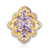 Tanzanite, White Topaz 14K YG Over Sterling Silver Pendant without Chain TGW 1.76 cts.