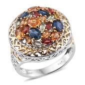 Multi Sapphire 14K YG and Platinum Over Sterling Silver Openwork Cluster Statement Ring (Size 7.0) TGW 4.260 cts.