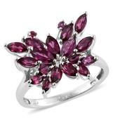 Orissa Rhodolite Garnet Platinum Over Sterling Silver Ring (Size 7.0) TGW 3.000 cts.
