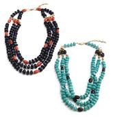 Set of 2 Multi Color Chroma ION Plated 18K YG Brass Beaded Multi Strand Necklace (18-20 in)