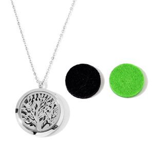 Stainless Steel Locket Pendant With Chain (24 in) and Set of 2 Black and Green Cotton Pads