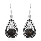 Artisan Crafted Mojave Black Turquoise Sterling Silver Openwork Pear Earrings TGW 3.70 cts.