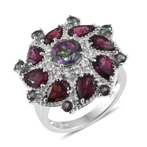 Northern Lights Mystic Topaz, Orissa Rhodolite Garnet, White Topaz Platinum Over Sterling Silver Statement Ring (Size 5.0) TGW 7.06 cts.