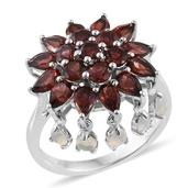 Mozambique Garnet, Ethiopian Welo Opal Platinum Over Sterling Silver Ring (Size 7.0) TGW 5.790 cts.