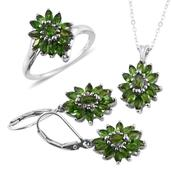 Russian Diopside Platinum Over Sterling Silver Lever Back Earrings, Ring (Size 6) and Pendant With Chain (20 in) TGW 6.200 cts.