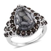 Pinolith, Brazilian Smoky Quartz Platinum Over Sterling Silver Ring (Size 10.0) TGW 10.96 cts.