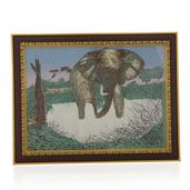Handcrafted Elephant Gemstone Painting (14x11 in)