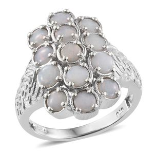 Australian White Opal Platinum Over Sterling Silver Engraved Ring (Size 7.0) TGW 1.50 cts.