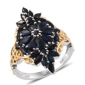 Kanchanaburi Blue Sapphire 14K YG and Platinum Over Sterling Silver Elongated Ring (Size 7.0) TGW 4.490 cts.