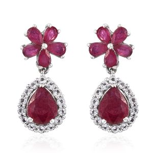 Niassa Ruby, White Topaz Platinum Over Sterling Silver Floral Drop Earrings TGW 8.85 cts.