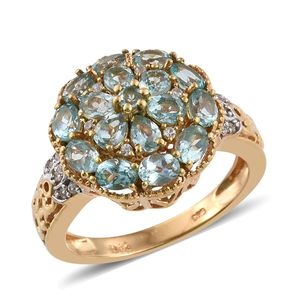 Madagascar Paraiba Apatite, Cambodian Zircon 14K YG Over Sterling Silver Ring (Size 6.0) TGW 2.53 cts.