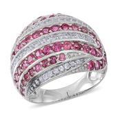 Pink Tourmaline, White Zircon Sterling Silver Ring (Size 9.0) TGW 4.220 cts.