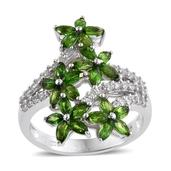 Russian Diopside, White Zircon Platinum Over Sterling Silver Floral Ring (Size 7.0) TGW 3.950 cts.