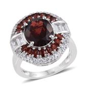 Mozambique Garnet, White Topaz Platinum Over Sterling Silver Ring (Size 9.0) TGW 10.18 cts.
