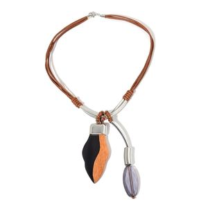 Mega Clearance Designer Inspired Black Chroma, Wooden Pendant on Brown Faux Leather Necklace (24 in)
