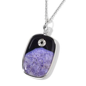 Purple Agate Silvertone Pendant With Stainless Steel Chain (24 in) TGW 150.00 cts.