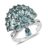 Madagascar Paraiba Apatite, White Zircon Platinum Over Sterling Silver Crown Charm Ring (Size 7.0) TGW 6.45 cts.