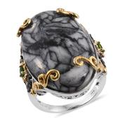 Austrian Pinolith, Russian Diopside, Thai Black Spinel 14K YG and Platinum Over Sterling Silver Ring (Size 7.0) TGW 44.55 cts.