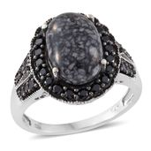 Austrian Pinolith, Thai Black Spinel Black Rhodium and Platinum Over Sterling Silver Ring (Size 7.0) TGW 8.07 cts.