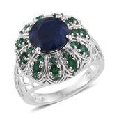 Kanchanaburi Blue Sapphire, Kagem Zambian Emerald Platinum Over Sterling Silver Ring (Size 8.0) TGW 6.28 cts.