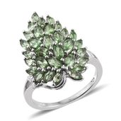 Brazilian Mint Garnet Platinum Over Sterling Silver Drop Ring (Size 5.0) TGW 3.850 cts.