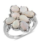 Australian White Opal Platinum Over Sterling Silver Ring (Size 7.0) TGW 2.66 cts.