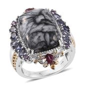 Austrian Pinolith, Multi Gemstone 14K YG and Platinum Over Sterling Silver Ring (Size 5.0) TGW 23.11 cts.