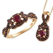 Burmese Ruby, Mozambique Garnet 14K YG Over Sterling Silver Ring (Size 7) and Pendant With Chain (20 in) TGW 1.91 cts.
