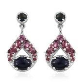 Ethiopian Sable Welo Opal, Orissa Rhodolite Garnet Platinum Over Sterling Silver Dangle Earrings TGW 2.60 cts.