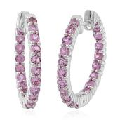 Madagascar Pink Sapphire Sterling Silver Inside Out Huggie Hoop Earrings TGW 3.25 cts.
