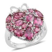 Orissa Rhodolite Garnet Platinum Over Sterling Silver Cluster Heart Ring (Size 9.0) TGW 7.210 cts.