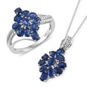 Himalayan Kyanite Platinum Over Sterling Silver Ring (Size 7) and Pendant With Chain (20 in) TGW 4.780 cts.